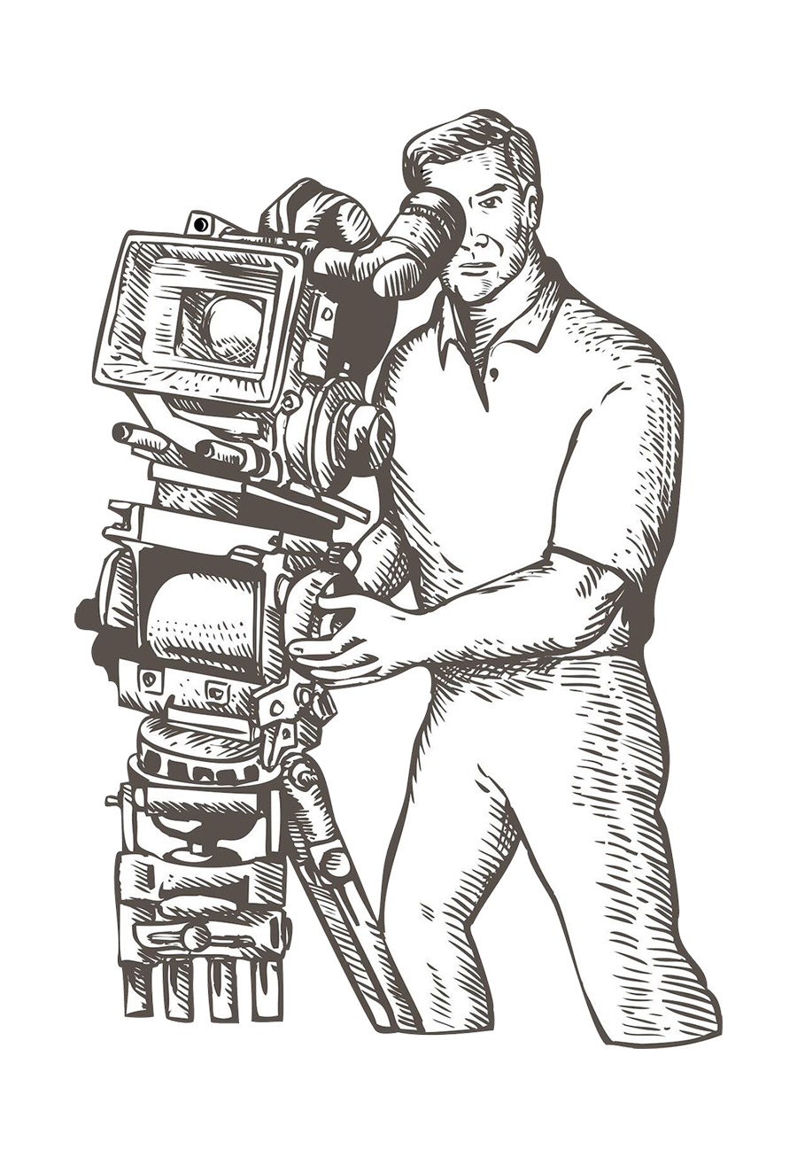 clip art library Film director camera operator. Drawing photography person