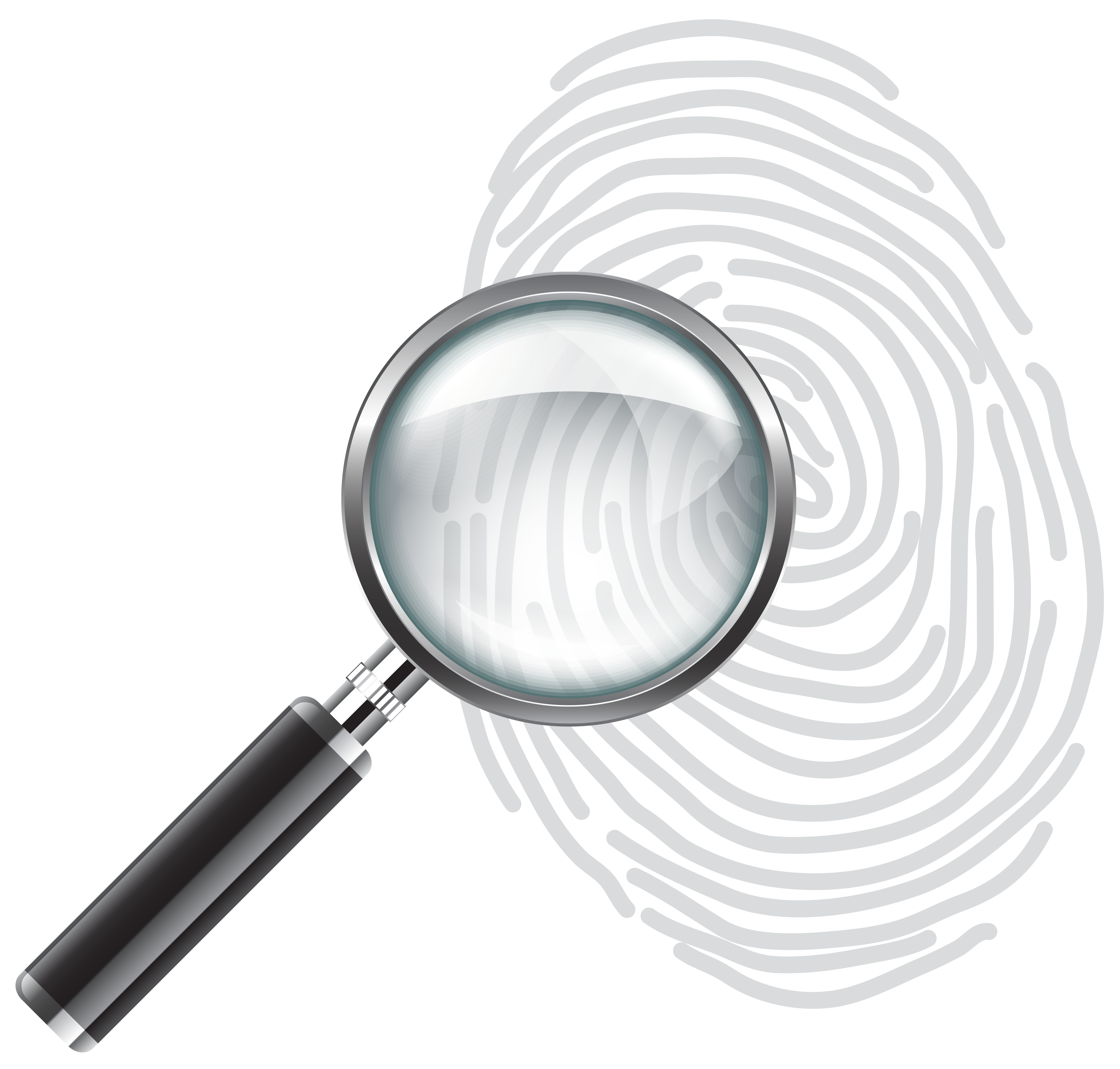 vector black and white Fingerprint clipart clear background. Magnifying glass with png.