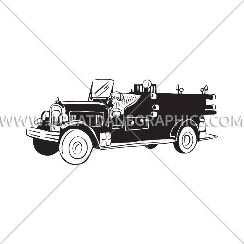 royalty free stock Vintage truck production ready. Fire engine clipart black and white