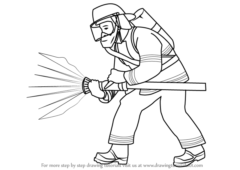 royalty free download Fireman drawing. Learn how to draw