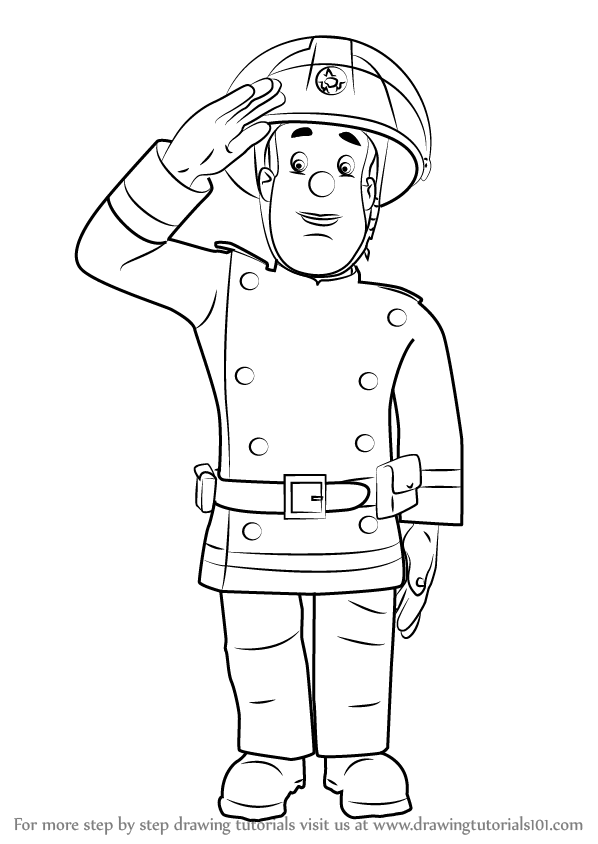 png black and white download Fireman drawing. Learn how to draw