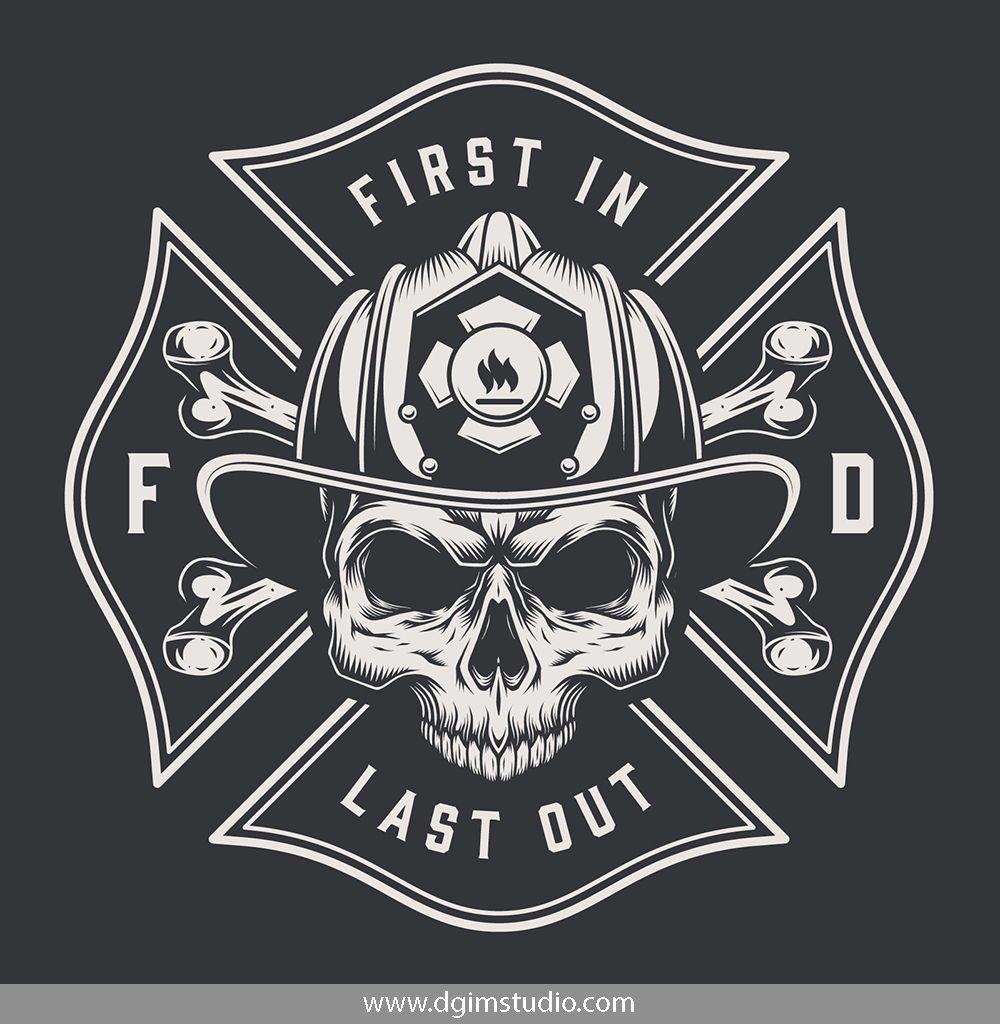 vector freeuse download Skull creator decals fireman. Vector crest firefighter