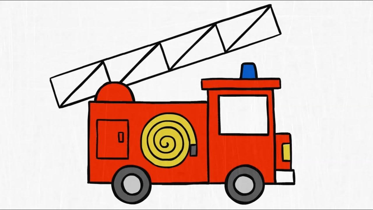 graphic library stock Firetruck drawing. How to draw a