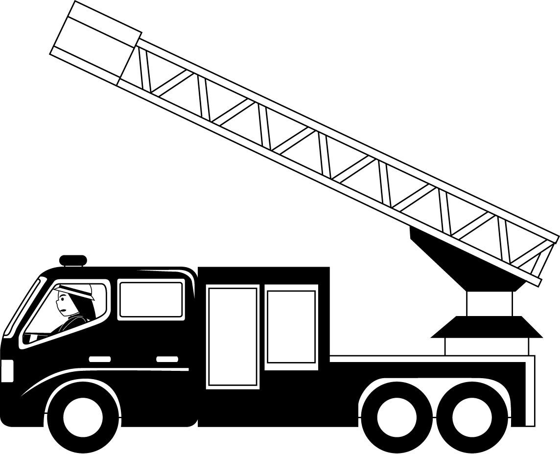 banner Fire Truck clipart black and white