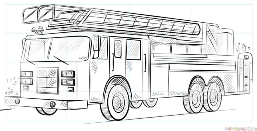vector freeuse How to draw a. Firetruck drawing