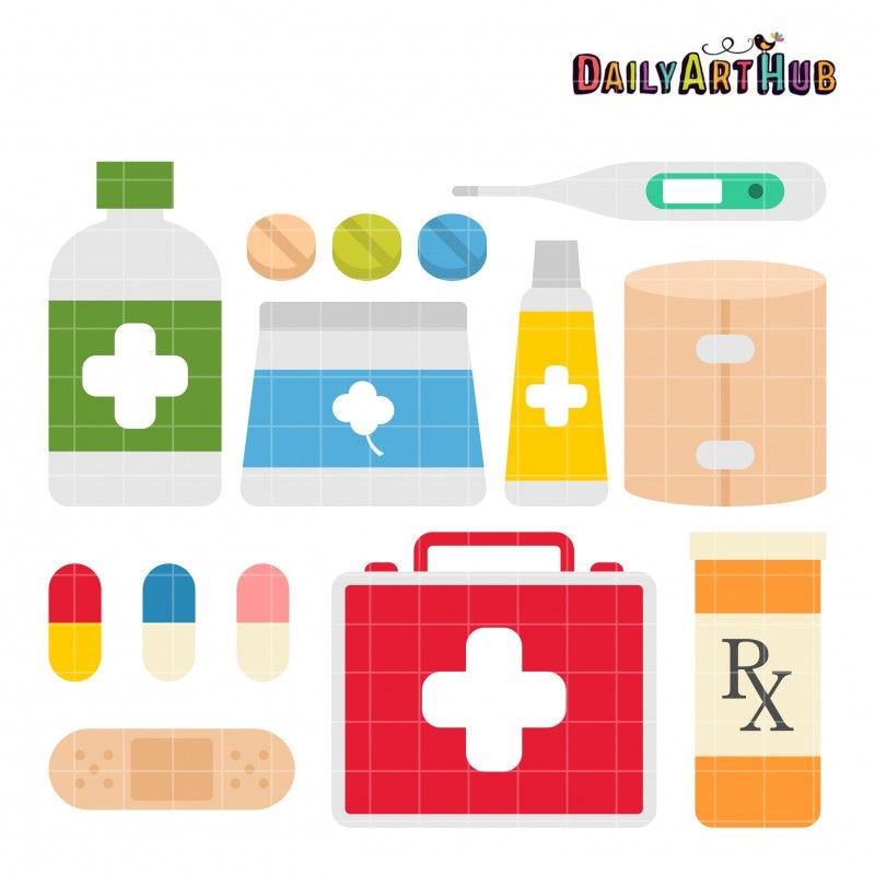 banner royalty free Kit clip art set. First aid clipart classroom