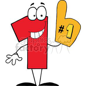 vector transparent Number one cartoon character. First of clipart.