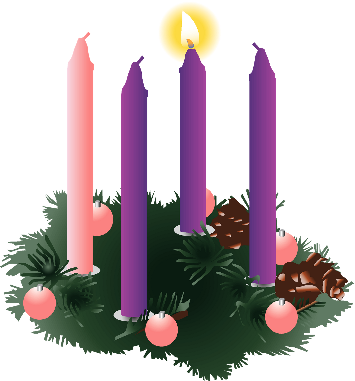 clip library stock First sunday of advent clipart. Four purple candles one