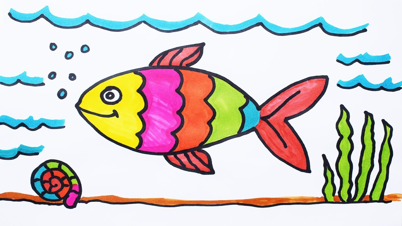 image library Fishes drawing. How to draw fish