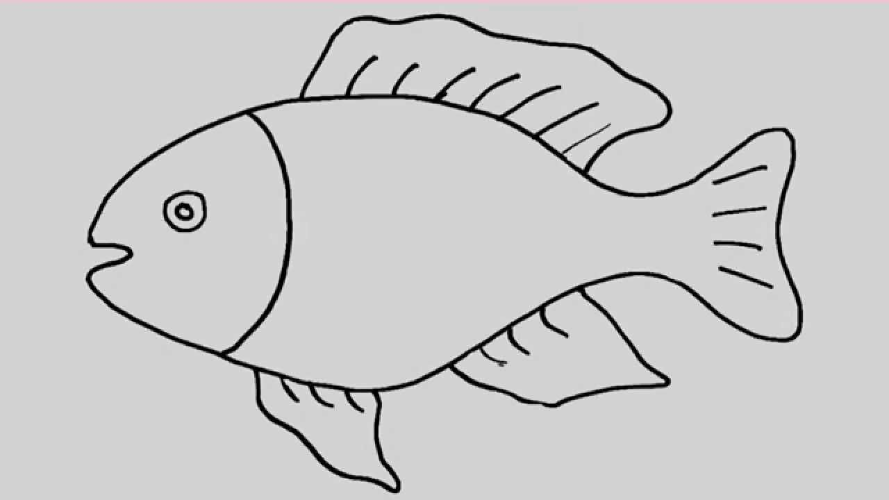 png black and white How to draw a. Fishes drawing