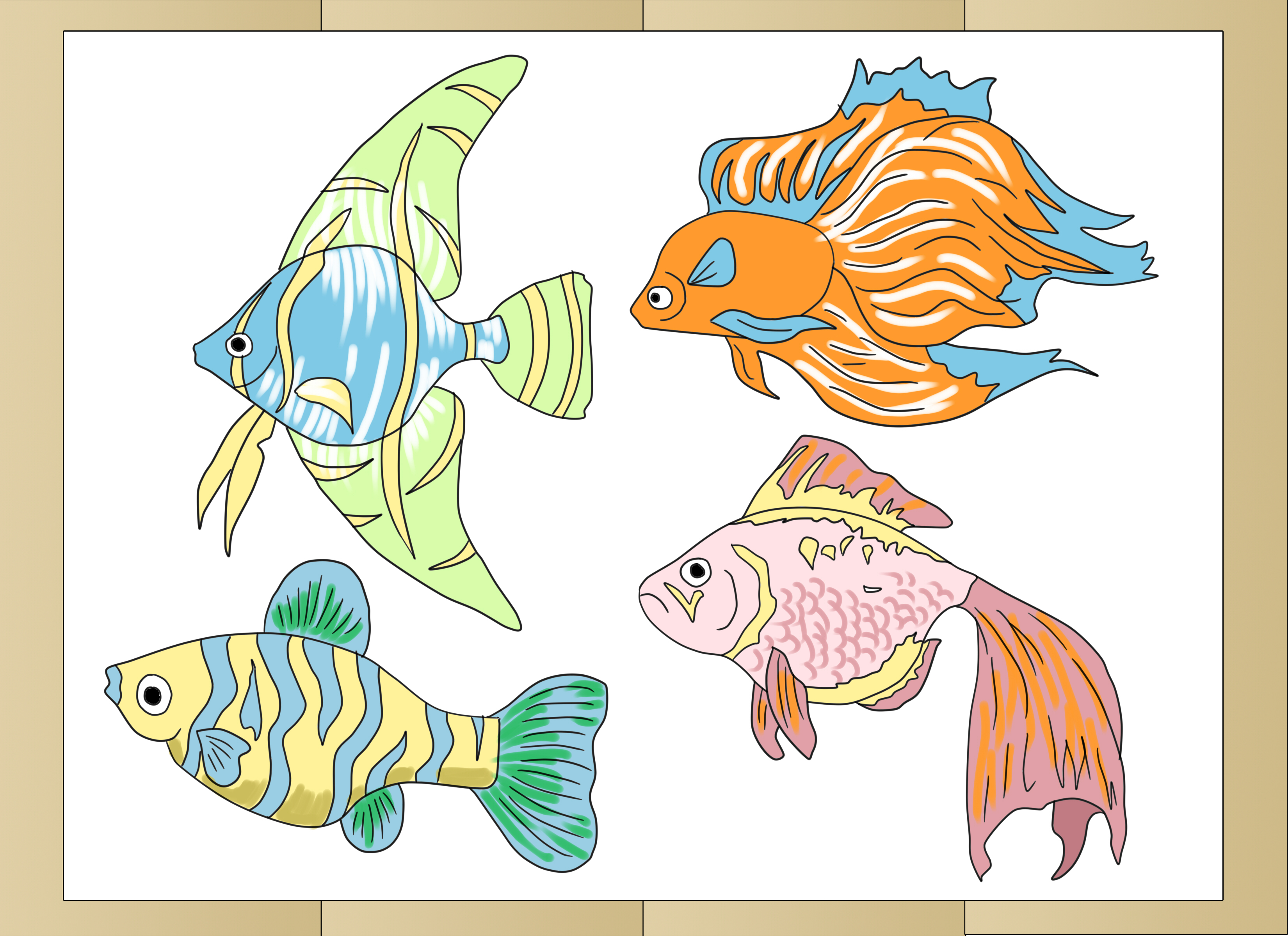 banner stock Fishes drawing. How to draw tropical