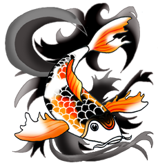 vector black and white Colorful Koi Fish Drawings