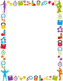 picture library library Fitness page borders printable. Workout clipart border