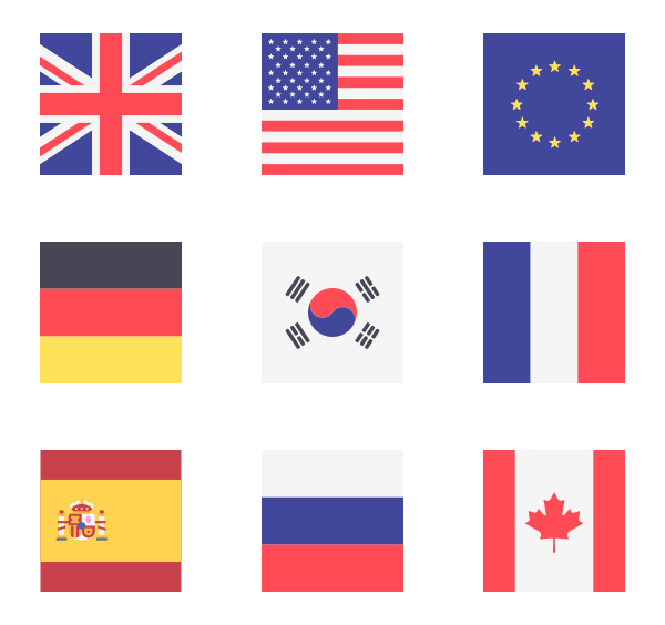 jpg download Vector flags. Icon family square icons