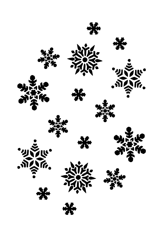 jpg free Walking in a winter wonderland clipart. Snowflakes black and white
