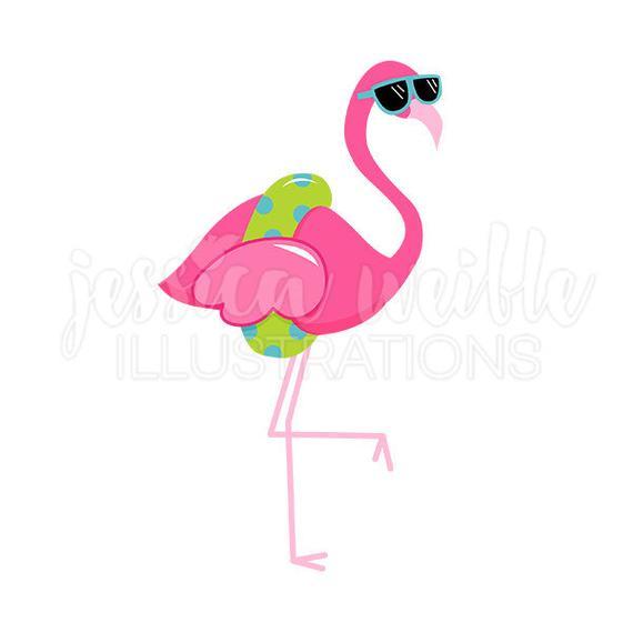 svg transparent stock Flamingo clipart. Sunglasses cute digital clip.