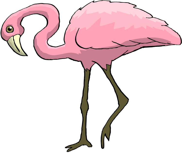 vector free library Free bright pink. Flamingo clipart.