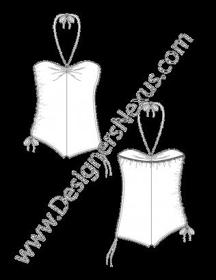 jpg transparent Swimwear flat sketch v. Drawing neck line