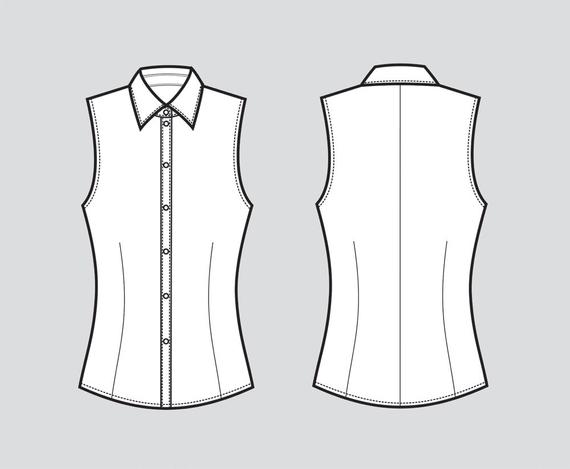 svg black and white stock Shirt fashion flat sketch. Vector clothing blouse