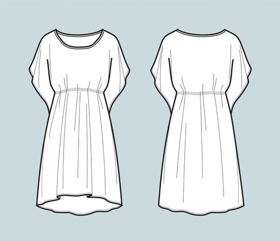 graphic freeuse download Vector clothing flat. Dress tunic fashion sketch