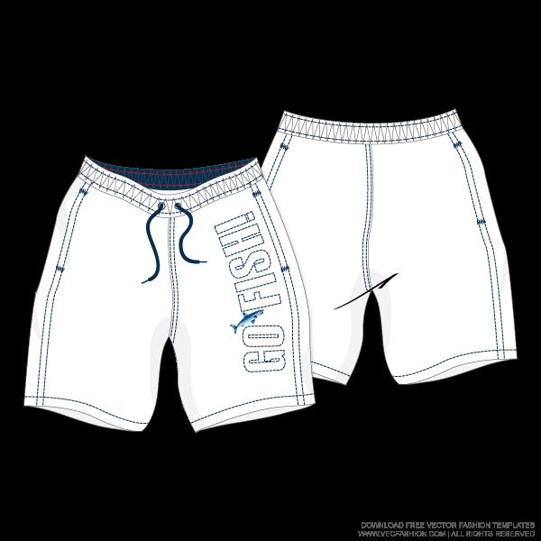 black and white stock Vector clothing drawing man. Men white swim shorts