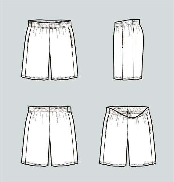 jpg black and white Underwear vector blank. Basketball shorts fashion flat