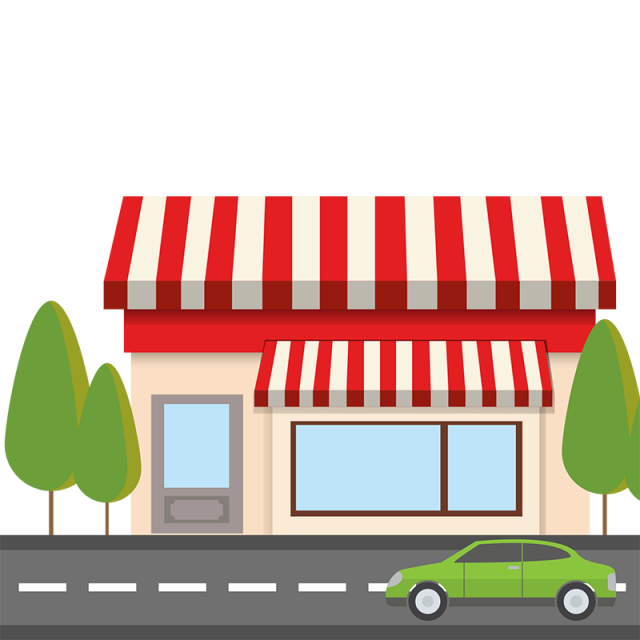 library Flat Red Shop With Road Vector PNG