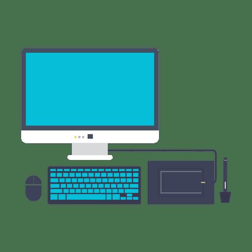 image freeuse library Computer set flat icon