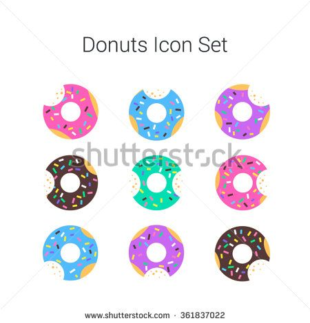 clip black and white library Vector donut flat. Color donuts illustration isolated