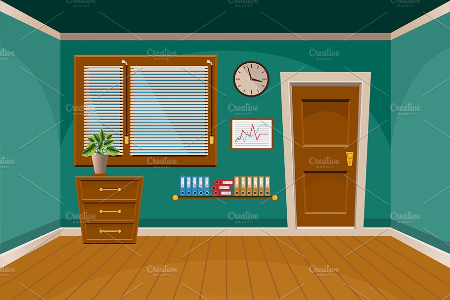 free library Cartoon flat interior . Vector cartoons room