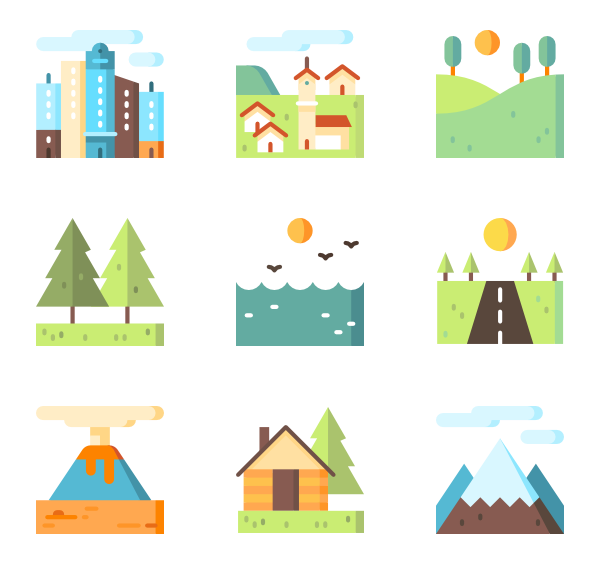 image transparent download Vector landscapes illustrator.  natural scenery icon