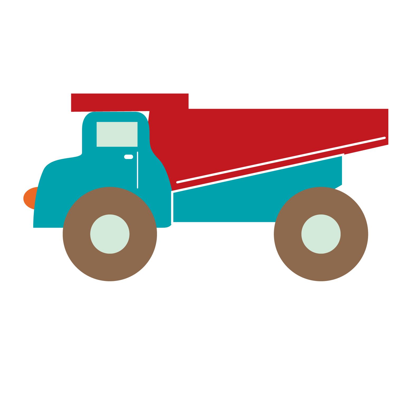 clip art stock Vector Cartoon Dump Truck Flat Truck