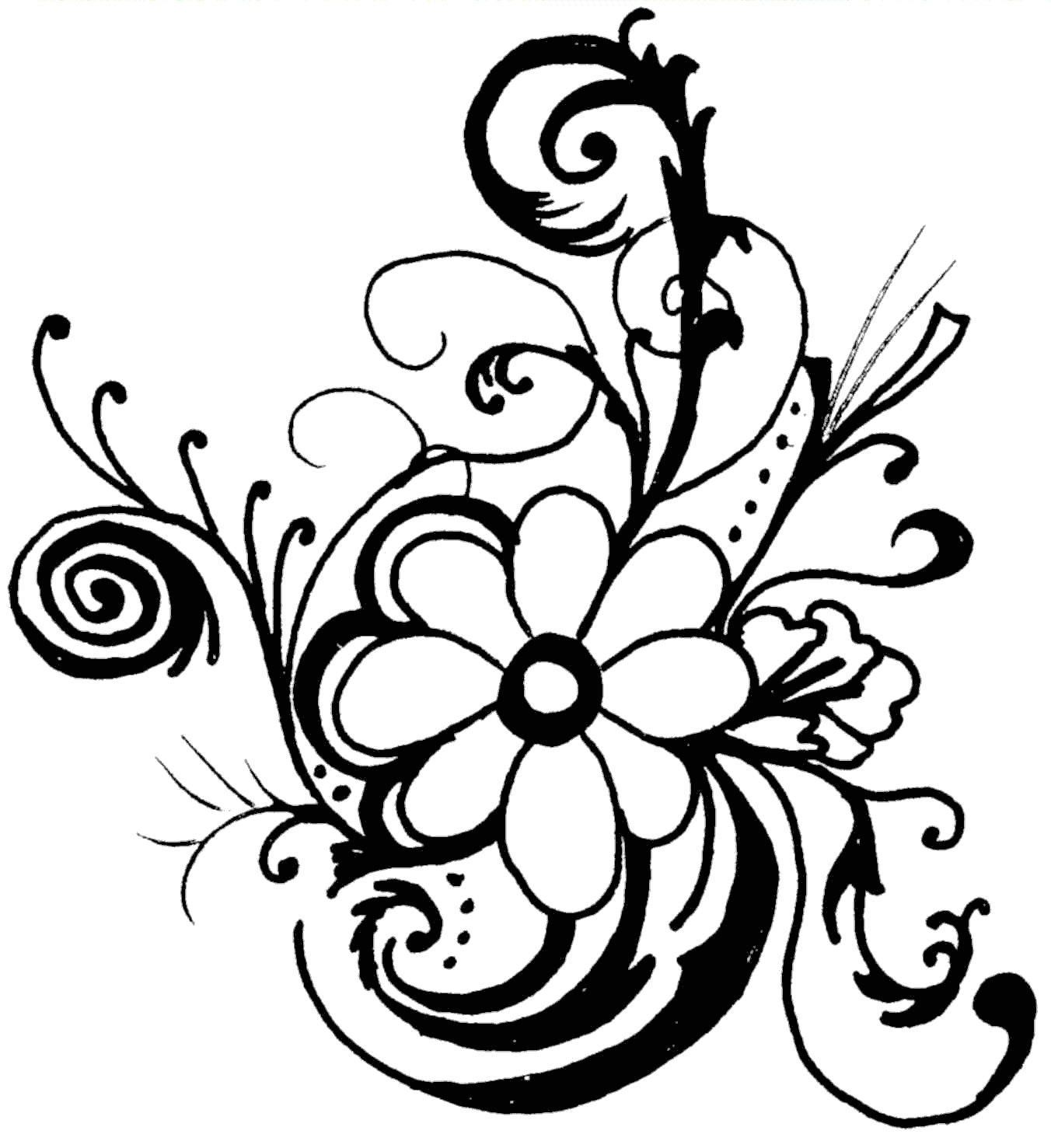 graphic black and white Floral clipart. Hawaiian flower clip art.