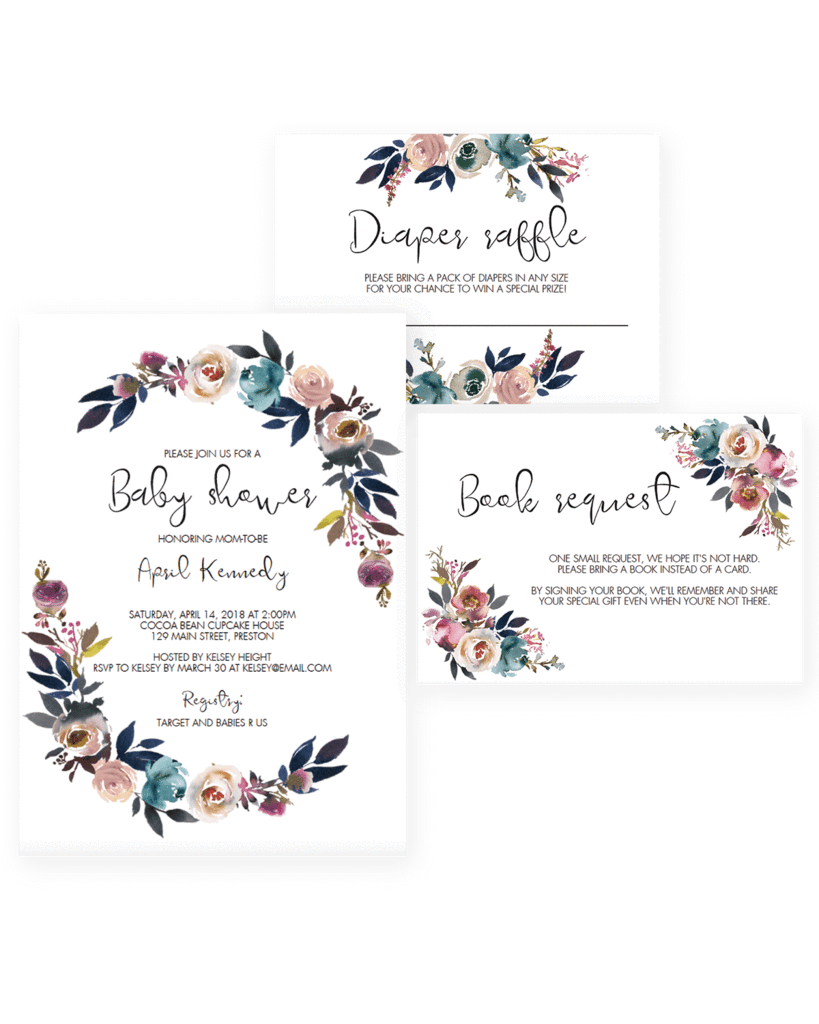 black and white download  boho chic invitations. Floral clipart baby shower