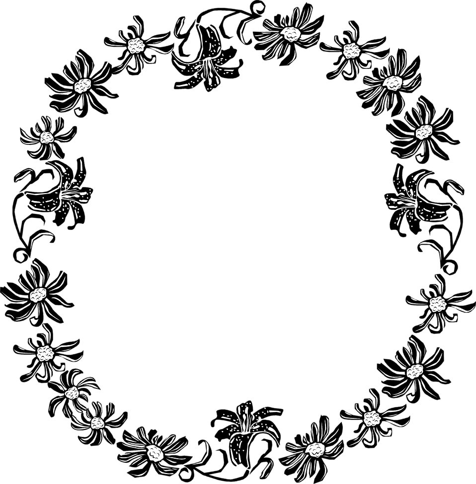 png black and white stock Floral borders clipart. Border flowers free stock