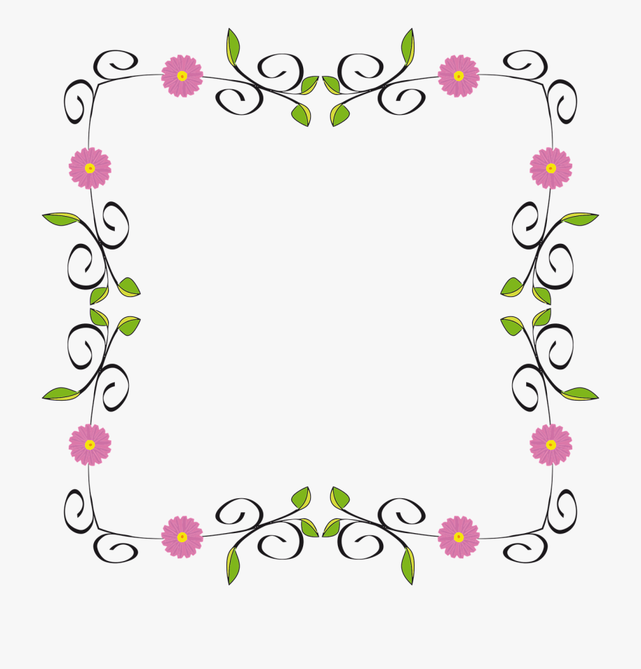 picture royalty free Flourish border design png. Floral borders clipart