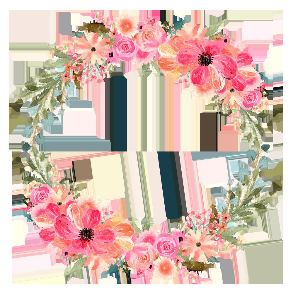 clip stock Watercolor wreath clipart. Florals for graphic design