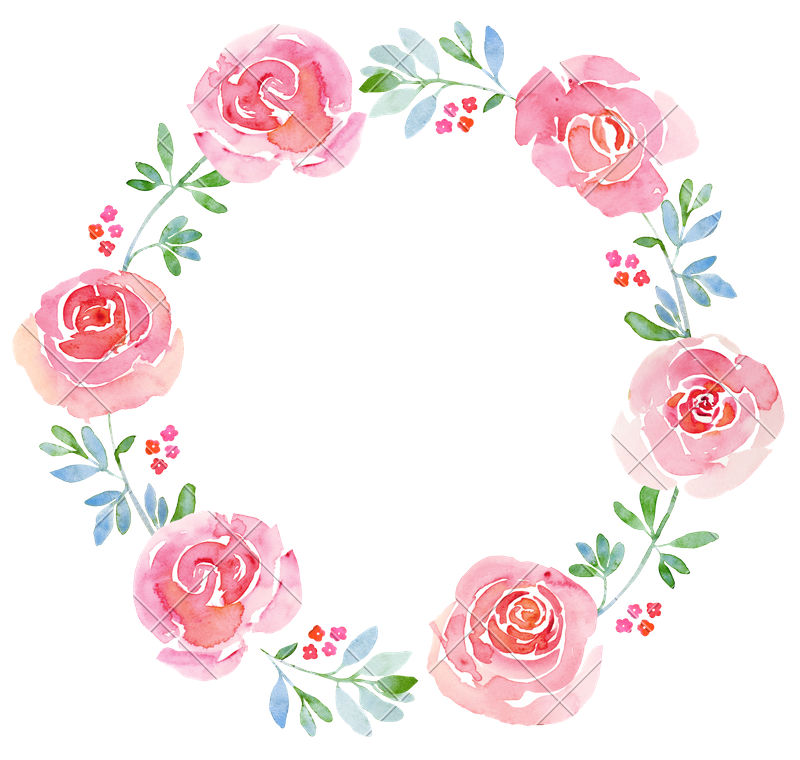 clipart black and white library Beautiful Flower Watercolor Wreath