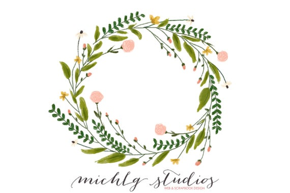vector black and white library Flower wreaths hand drawn. Floral wreath clipart