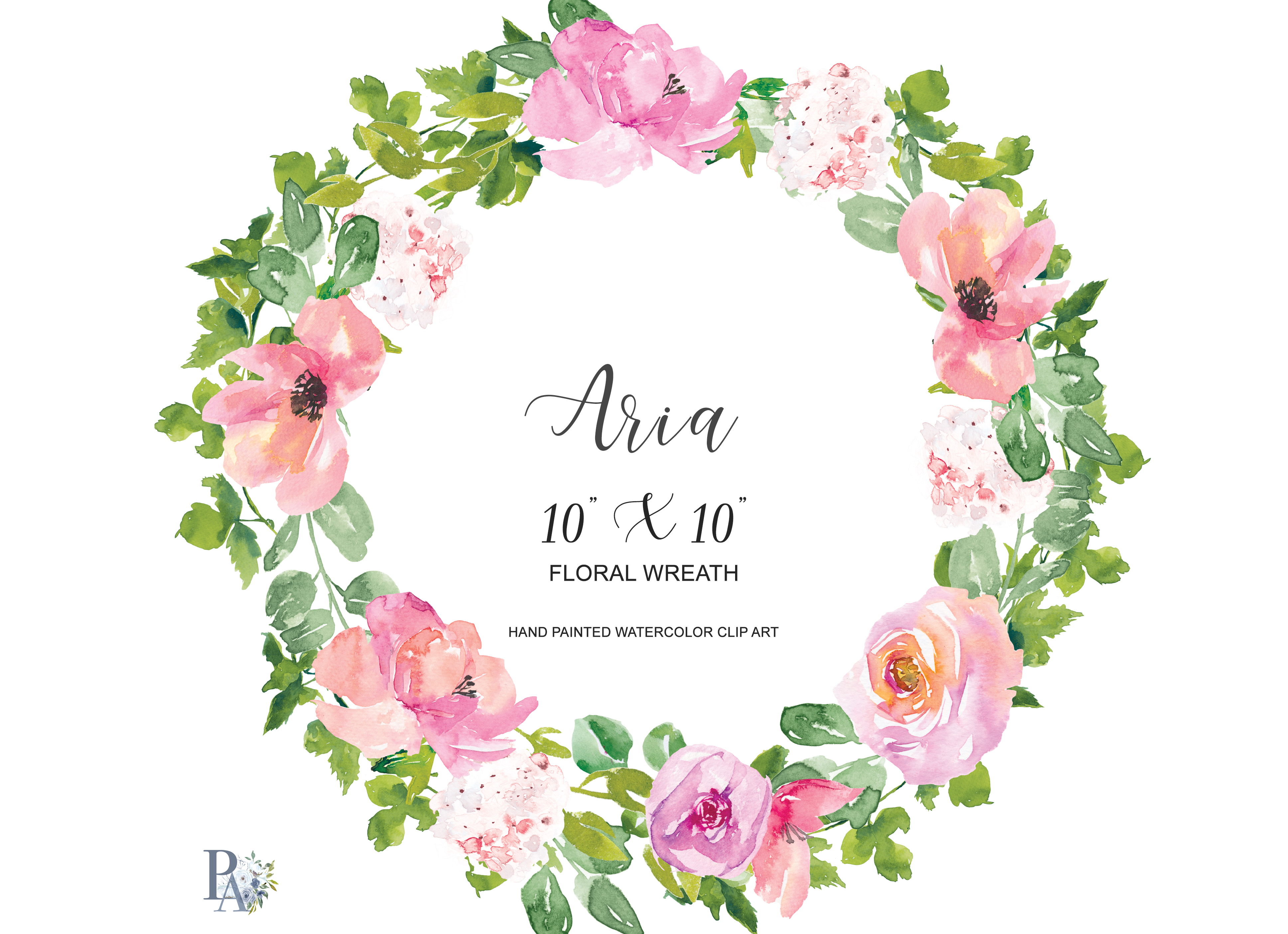 clipart library stock Watercolor blush . Floral wreath clipart
