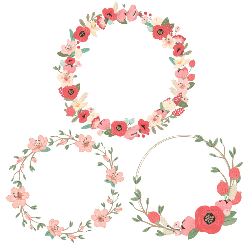 graphic library stock Mint coral jenny pretty. Flower wreath clipart