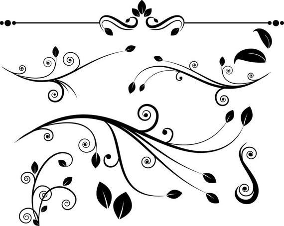 clip black and white Flourish clipart. Decorative flourishes clip art.