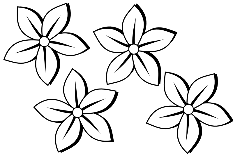 vector royalty free June Flowers Black And White Clipart