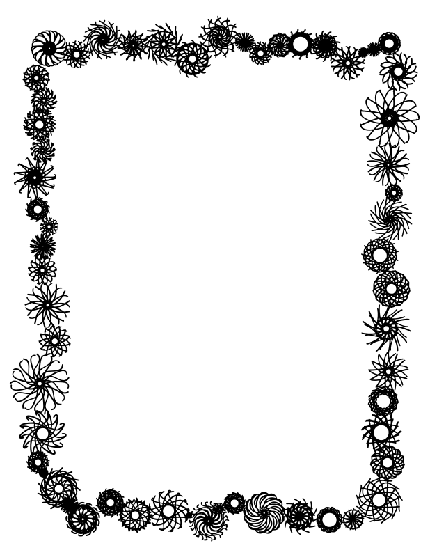 picture freeuse stock Clipart Flower Border Black And White