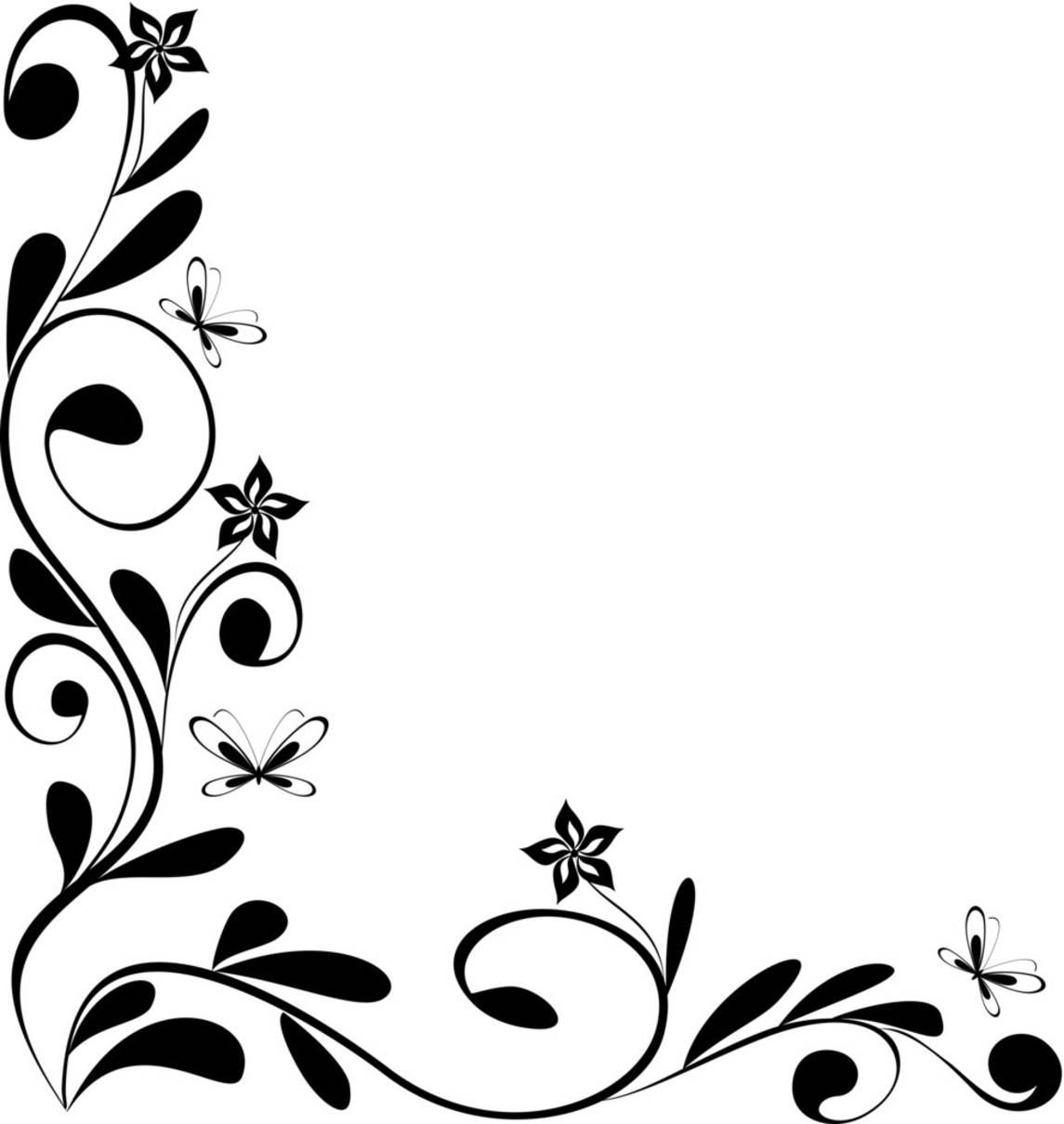 jpg free library Black and white floral. Corner borders clipart