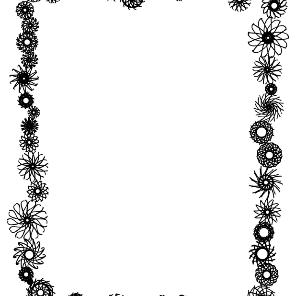 picture black and white library Png Flower Border Black