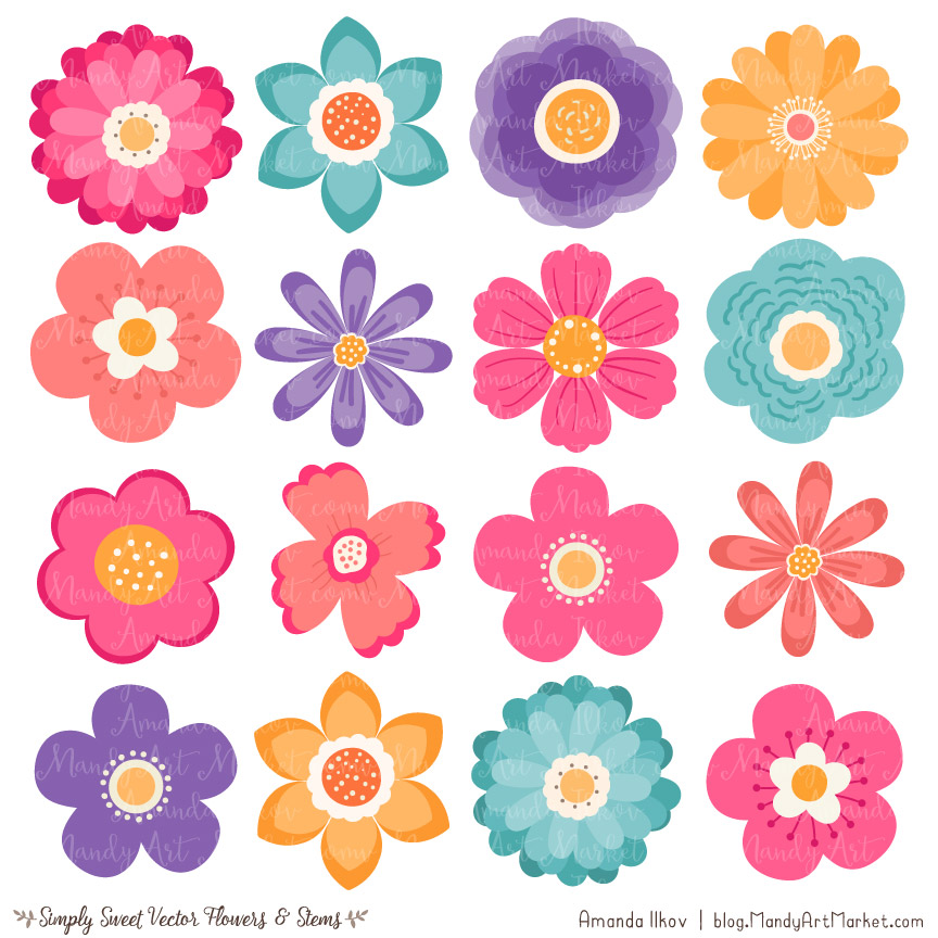 clip library stock Flowers clipart. Crayon box flower vectors.