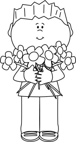 png stock Clip art images boy. Flower clipart black and white