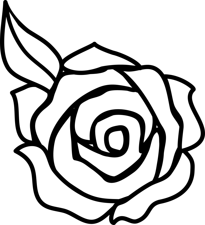 svg royalty free download Flower clipart black and white. Rose