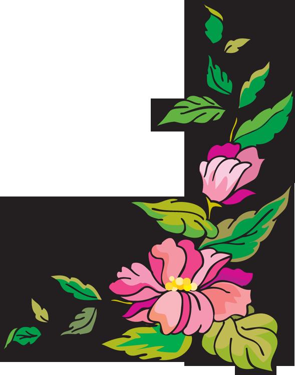 clipart stock Flower Corner Border Clipart